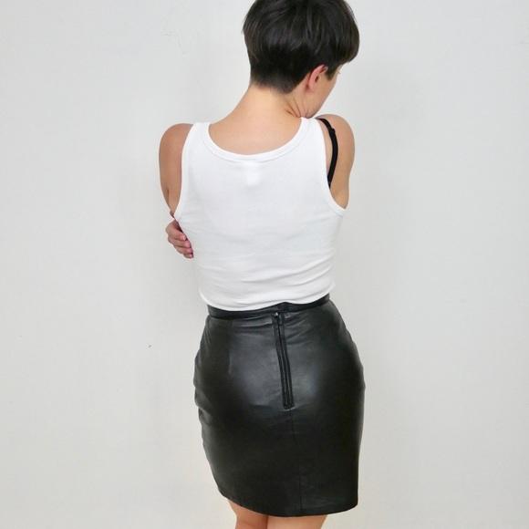 Vintage Black Genuine Leather Mini Skirt 27, 4/6
